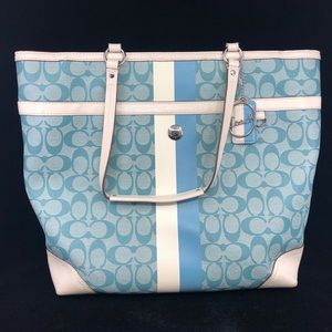 CH003 Coach Logo Canvas Leather tote bag